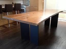 Image Gray Barn Elm Slab Dining Table Steel Plate Base Nkbuild Furniture Wood And Steel Nkbuild