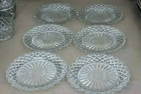 clear glass dishes dinnerware hocking waffle vintage depression crystal plates set square sets gl glass dish sets