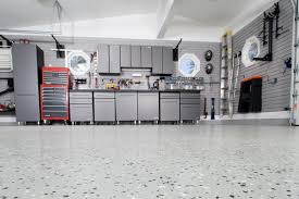 garage wall paintLarge Modern Garage Makeover Desgin With Silver Painted Wall