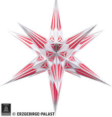 Hartenstein Christmas Star For Inside Use White Wine Red With Silver 68 Cm 27 Inch