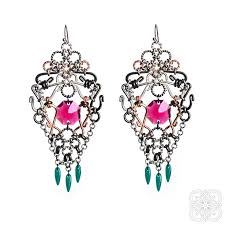 intricate earrings large earrings dangle chandelier earrings emerald and ruby bridal earrings