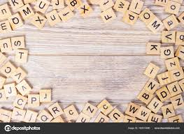 wooden letter cubes on dark background wooden cube background stock photo