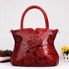 chinese cheongsam designer lady large red totes handbag genuine leather women s single shoulder bag embossed female fl purse