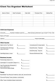 Client Tax Organizer Worksheet Pdf