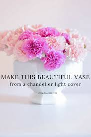 this diy vase upcycle from an old outdated chandelier light cover is so fun and
