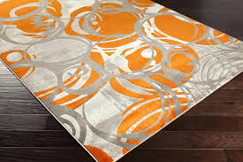 orange and gray area rug deign burnt