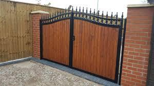 wood infill steel gates