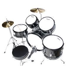 mendini by cecilio 16 5 piece complete kids junior drum set with adjule throne cymbal pedal drumsticks metallic black mjds 5 bk com