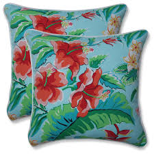 outdoor indoor tropical paradise 16 5 inch throw pillow set of 2 tropical outdoor cushions and pillows by pillow perfect inc