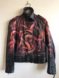 otto schade galaxo girl spray painted leather jacket
