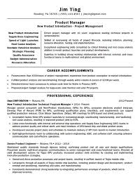 Accomplishments For A Resumes New Product Manager Resume Example Introduction