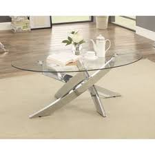 glass coffee table. Furniture Of America Propel Modern Glass Top Chrome Oval Coffee Table