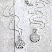 personalised silver guardian angel pendant