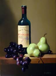 still life painting wine bottle pears