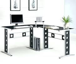 corner home office. Corner Office Computer Desk Black And White L Shaped With Hutch Home