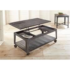 industrial brown barn wood lift top coffee table sherlock