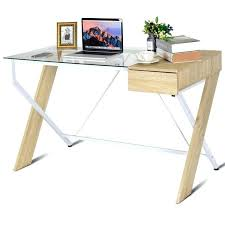 glass computer desk with storage clear top wood metal frame drawer home office furniture as stylish glass computer desk with storage