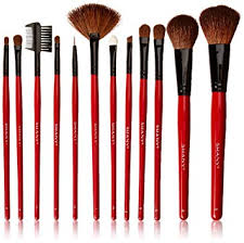 shany professional 12 piece natural goat and badger cosmetic brush set with pouch red