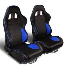 set of 2 type r pvc leather reclinable racing seats w universal sliders