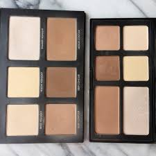 lorac left 45 and freedom right 18 both include beige yellow and shimmering white highlighters along with light um and dark contour powders