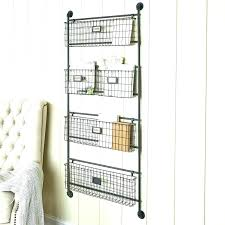 post wall basket with hooks rustic mounted baskets metal rack home