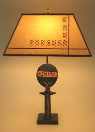 t194b african doll table lamp stenciled parchment paper lamp shade
