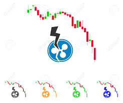 Candlestick Chart Ripple Crash Icon Vector Illustration Style