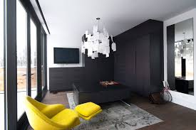 dark sophisticated colors with a splash of bright yellow work extremely well in this contemporary