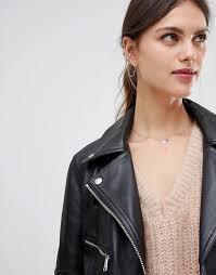 women s clothing black lab leather oversized biker jacket mid weight design njhqlpa 1301788