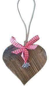 Herz Aus Holz Mit Edelweiß Und Karoband In Rot Deko Herz Zum