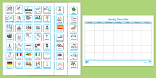Weekly Timetable Planner Weekly Planner With Cards Visual Timetable Visual Aid
