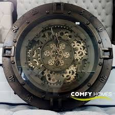 gold gears round wall clock