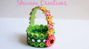 Paper Quilling Flower Baskets Paper Quilling Basket Green Paper Strip Basket Diy Flower Basket
