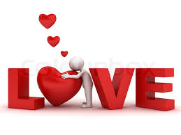 3d Man Hugging Red Heart In Word Love Stock Photo Colourbox
