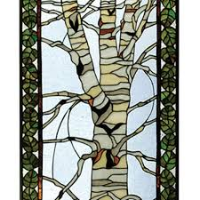 birch in winter tiffany stained glass panel