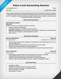 Entry Level Entry Level Accounting Resume Example Resume Tips No Experience
