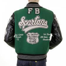 whitesville regular fit dark green wool black leather sleeve award letterman spartans stadium jacket wv12310