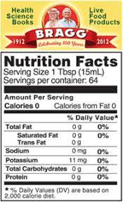 braggs apple cider vinegar nutrition facts label