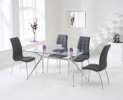 mark harris nto glass dining set 150cm rectangular with 4 california grey chairs