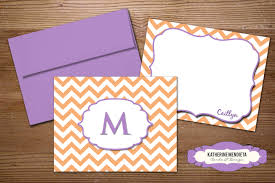 purple note cards personalized stationery note card set chevron in yellow pink