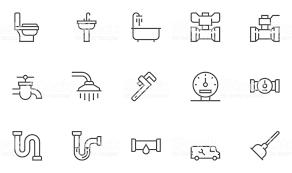 トイレシンクバスタブパイプ水道メーター配管や衛生機器ライン アイコン