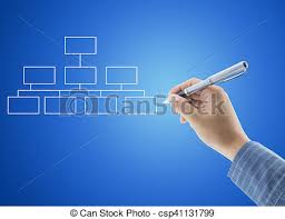 Background For Organizational Chart Hand Drawing An Organization Chart On Blue Background