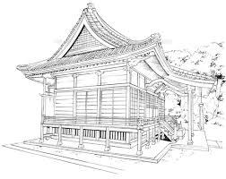 手描き背景線画神社外観05 Fyi00605016 ロイヤリティフリー