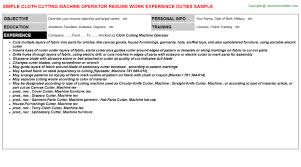 Cloth Cutting Machine Operator Resume | Resumes Templates ...
