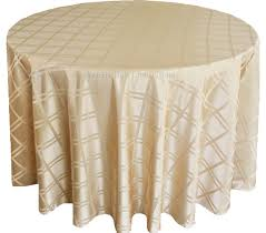 90 round plaid polyester jacquard tablecloths champagne 87328 1pc pk