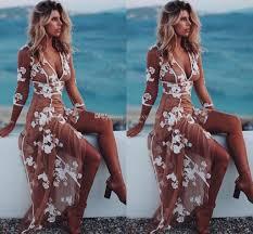 Sexy Boho Evening Dresses V Neck 3 4 Long Sleeves Floral Appliques