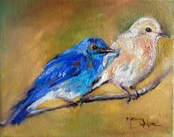 norma wilson original oil blue bird aviary wildlife painting art