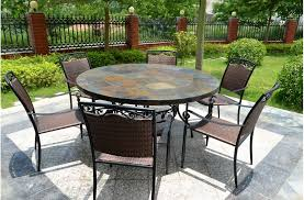 round outdoor table. 63\u0027\u0027 Round Top Slate Outdoor Stone Patio Dining Table OCEANE