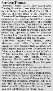 Berniece (Alexander) Thomas obituary - Newspapers.com
