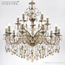 modern luxury crystal chandelier light fixture brass color pendant lampara de techo dining room living room lighting md8701 15 lights drum chandelier